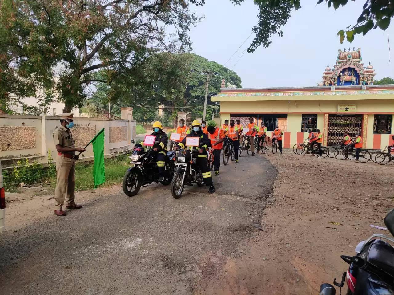 தீயணைப்புத்துறை சார்பில் கொரோனா விழிப்புணர்வு சைக்கிள் பேரணி
